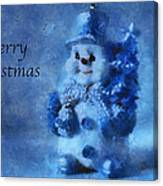 Snowman Merry Christmas Photo Art 01 Canvas Print