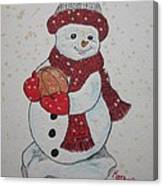 Snowman Playing Basketball Canvas Print