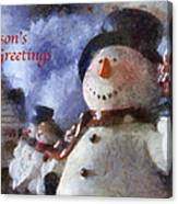 Snowman Season Greetings Photo Art 01 Canvas Print