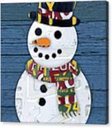 Snowman Winter Fun License Plate Art Canvas Print
