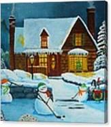 Snowmans Hockey Canvas Print