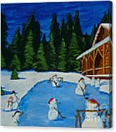 Snowmans Hockey Two Canvas Print
