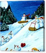 Snowmans Winter Sports Canvas Print