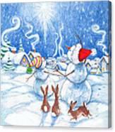 Snowmen And Christmas Star Canvas Print