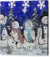 Snowmen Enjoy The Beauty Photo Art Canvas Print