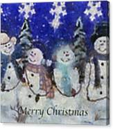 Snowmen Merry Christmas Photo Art Canvas Print
