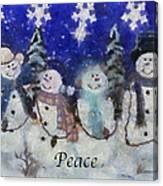 Snowmen Peace Photo Art Canvas Print