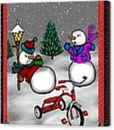 Snowmen Playing Canvas Print