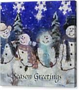 Snowmen Season Greetings Photo Art Canvas Print