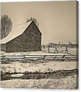 Snowstorm At The Ranch Sepia Canvas Print