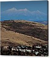 Snowy Arizona Peaks And Prairie Hills Canvas Print