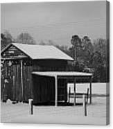 Snowy Barn Bw Canvas Print