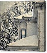 Snowy Brick House Canvas Print