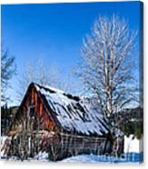 Snowy Cabin Canvas Print