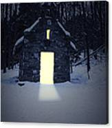 Snowy Chapel At Night Canvas Print