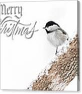 Snowy Chickadee Christmas Card Canvas Print