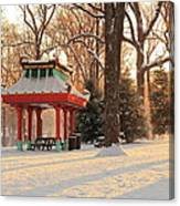 Snowy Chinese Shelter Canvas Print