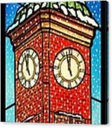Snowy Clock Tower Canvas Print