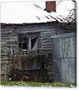 Snowy Day At The Old House Canvas Print