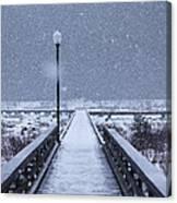 Snowy Day On The Boardwalk Canvas Print