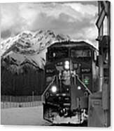 Snowy Engine Through The Rockies Canvas Print