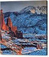 Snowy Fisher Towers Canvas Print
