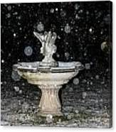 Snowy Fountain Canvas Print