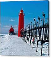 Snowy Grand Haven Pier Canvas Print