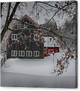Snowy Grey And Red Canvas Print