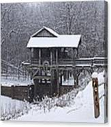 New Salem Grist Mill In The Snow Clr Canvas Print