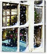 Snowy Inn Window Canvas Print