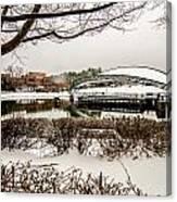 Snowy Landscape At Symphony Park Charlotte North Carolina Canvas Print
