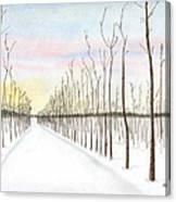 Snowy Lane Canvas Print