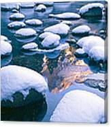 Snowy Merced River With Reflection Canvas Print