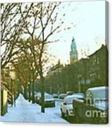 Snowy Montreal Winters City Scene Paintings Verdun Memories Church Across The Street Canvas Print