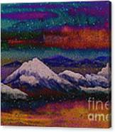 Snowy Mountains On A Colorful Winter Night Canvas Print