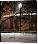 Snowy Night In Leone Riverside Park Canvas Print