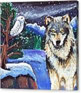 Snowy Night Wolf Canvas Print