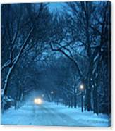 Snowy Road On A Winter Evening Canvas Print
