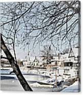 Snowy View Of Boathouserow Canvas Print