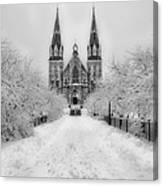 Snowy Villanova In Black And White Canvas Print