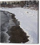 Snowy Winter Beach Patterns - Lake Ontario Toronto Canada Canvas Print