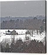 Snowy Winter Farmscape Canvas Print