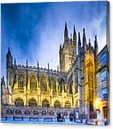 Soaring Perpendicular Gothic Architecture Of Bath Abbey Canvas Print