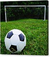 Soccer Ball On Field Canvas Print