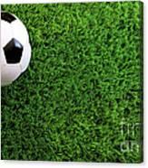 Soccer Ball On Green Grass Canvas Print