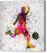 Soccer Player - Kicking Ball Canvas Print