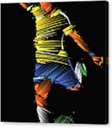 Soccer Player Running To Kick The Ball Canvas Print