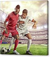 Soccer Player Tackling Ball In Stadium Canvas Print