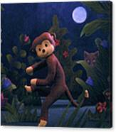 Sock Monkey In The Wild Canvas Print